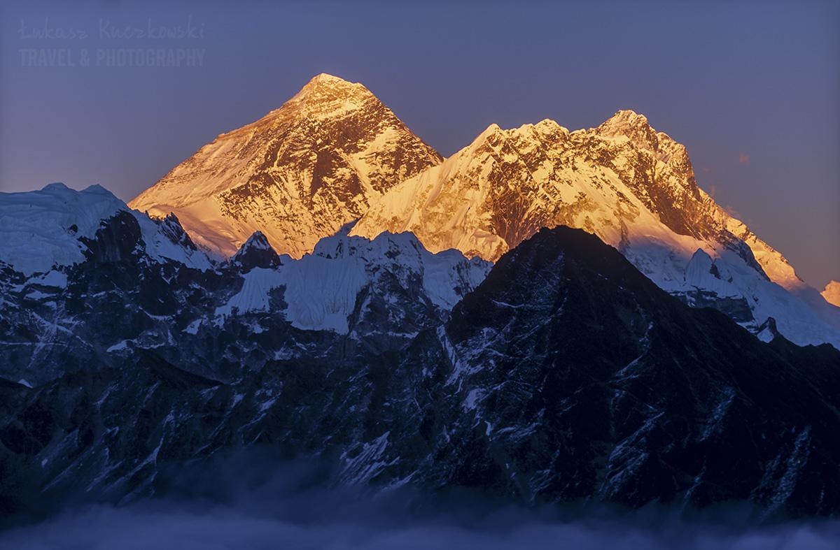 Himalaje, zachód słońca